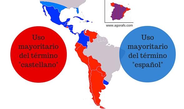 mapa uso de castellano o español