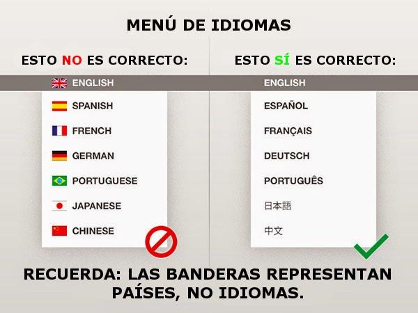 menú de idiomas traducidos